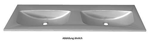 PELIPAL 6025 Mineralmarmor Doppelwaschtisch, Grau-Metallic / MMDWT70-1320-GM/B: 132 cm