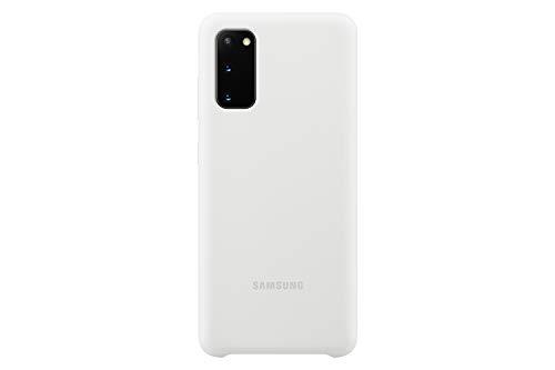 Samsung Silicone Smartphone Cover EF-PG980 für Galaxy S20 | S20 5G Handy-Hülle, Silikon, Schutz Case, stoßfest, dünn und griffig, weiß