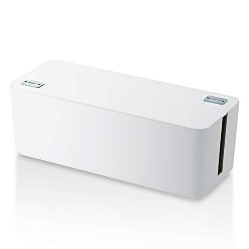 ELECOM ケーブル収納ボックス 6個口電源タップ収納 ホワイト EKC-BOX001WH