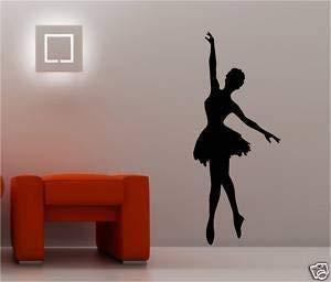 Online Design Giant Ballerina Vinyl Muursticker Slaapkamer Kinderen Blauw