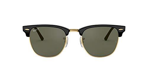 Ray-Ban RayBan Clubmaster Gafas de sol, Negro (Black Frame With Gold Rim and Polarized G/15 Lenses), 55.0 Unisex Adulto