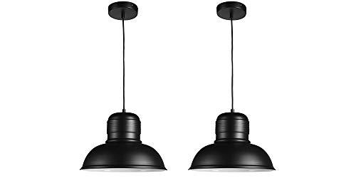 LIFA LIVING Industriele Hanglamp, Set van 2, Zwart en Witte Plafondlamp, Moderne Metalen Verlichting, Ronde Hanglamp voor Woonkamer, Eetkamer, Slaapkamer