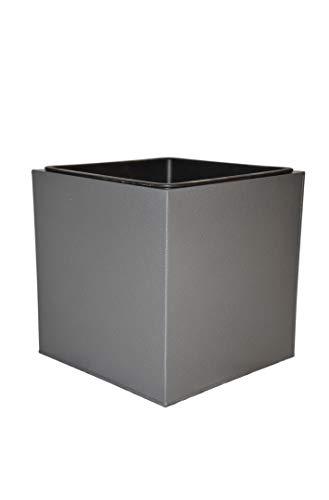 Pflanzkübel ERA für Rollen (extra) aus Metall, inkl. Einsatz, in anthrazit - Größe (LxBxH): 36x36x36 cm, Blumenkübel, Pflanzgefäß
