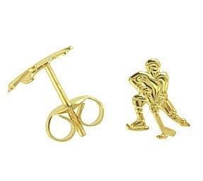 Ohrstecker per Stück echt 14 Karat Gold 585 Eishockey (Art 602029/811123)