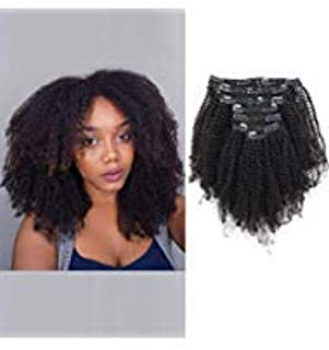 ABH AmazingBeauty Hair Double Weft 8A Grade Big Thick 4B 4C Afro Coily Clip Ins for African American Black Women, Real Remy Human Hair, Natural Black, 120 Gram, A4C 18 Inch