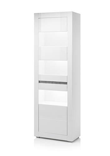 Newfurn Vitrine Vitrinenschrank Modern Holzvitrine II 66x198x 35 cm (BxHxT) II [Finn.Two] in Weiß/Weiß Hochglanz Wohnzimmer Schlafzimmer Esszimmer Flur Diele
