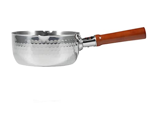 Guuisad 16 cm de plata de acero inoxidable de acero inoxidable sartén japonés olla de leche manija de madera leche caliente olla instantánea fideos olla inucción cocina general (tamaño: 6.3 pulgadas d
