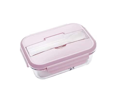 Huachuan Geschirr Lunch Box Frische Box Food Storage Container Drei-Punkt-Raster kann erwärmenden Durch Mikrowellenherd Sealed Küchengeräte senden Stäbchen Löffel Tragbarer Studenten Adult 1 Packung