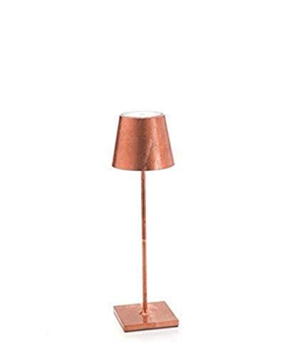 Zafferano Poldina - Lampe de Bureau sans Fil Veilleuse Rechargeable Lampe à Poser Rechargeable Protection élevé IP20 Aluminium Peint Source Lumineuse LED 9 Heures d'Autonomie - Feuille de Cuivre