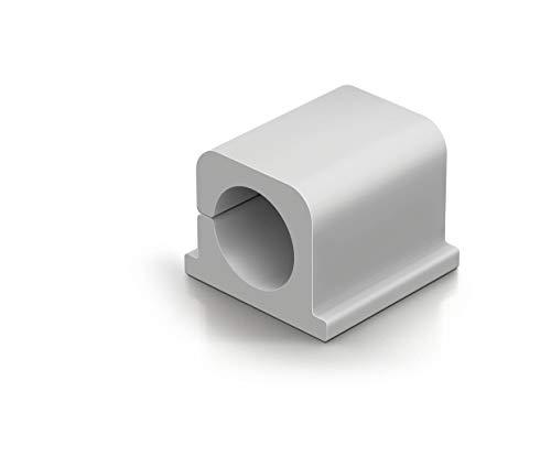 Durable 504310 Kabel Klemmen Cavoline Clip Pro 2 (selbstklebend für 2 Kabel, Ø 14 mm) 4 Stück, grau