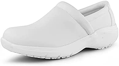 Hawkwell Women's Lightweight Slip On Nursing Shoes Food Service Work Shoes,White Synthetic,5 M US