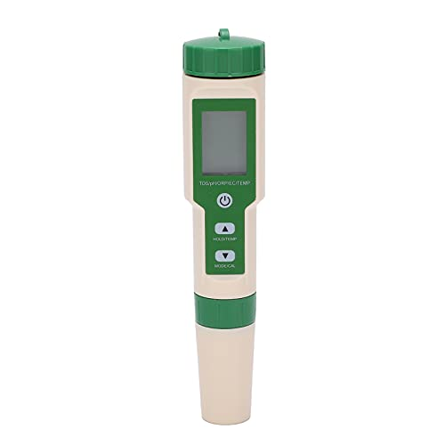 Agatige Pluma de Prueba de Calidad del Agua 5 en 1, analizador Digital de Calidad del Agua PH ORP EC TDS Temp Meter para Acuario acuicultura EZ-9910