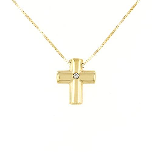 Lucchetta – Cruz de 12 x 10 mm con diamante natural de oro amarillo de 18 quilates – Cadena de 45 cm reducida a 42, collar de oro para mujer – Fabricado en Italia – CR1580-VE38-BL