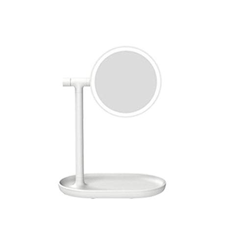 Yuan Ou Miroir Maquillage Portable Double Sided Lighted Round Makeup Mirror Cosmetic Tool Night Lamp 24x15.8x32cm Blanc