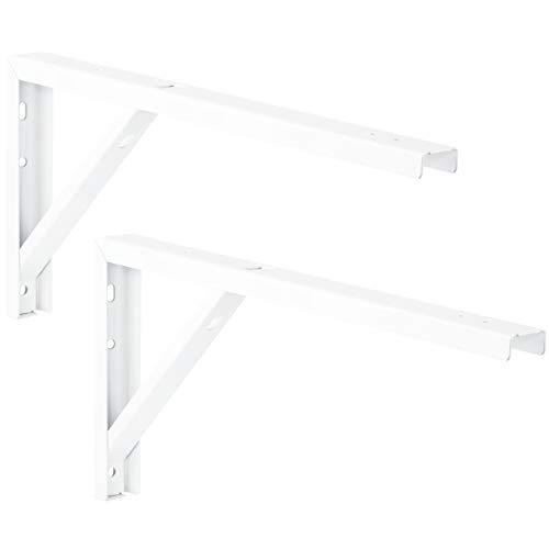 Gedotec Regal-Konsole Metall weiß Regalträger Tischverlängerung Metall Regalwinkel für die Tisch & Wand-Montage | Stahl weiß beschichtet | 300 x 30 x 180 mm | 2 Stück - Wandwinkel für Wand-Regale