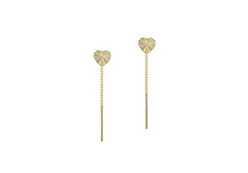 9ct Yellow Gold Small & Dainty 6.3mm x 41mm Diamond Cut Heart Pull-Through-Chain Drop Earrings Gift Boxed