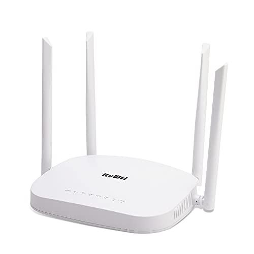 KuWFi 4G LTE SIM WiFi Router 300Mbps desbloqueado CPE Router inalámbrico con ranura para tarjeta SIM Antenas Wi-Fi externas fijas para...