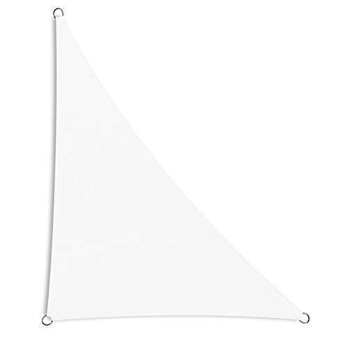 Schramm® Sonnensegel dreieckig in verschiedenen Größen und Farben Sonnenschutz Sichtschutz Windschutz, Farbe:Weiss, Größe:4 m x 4 m x 5.65 m
