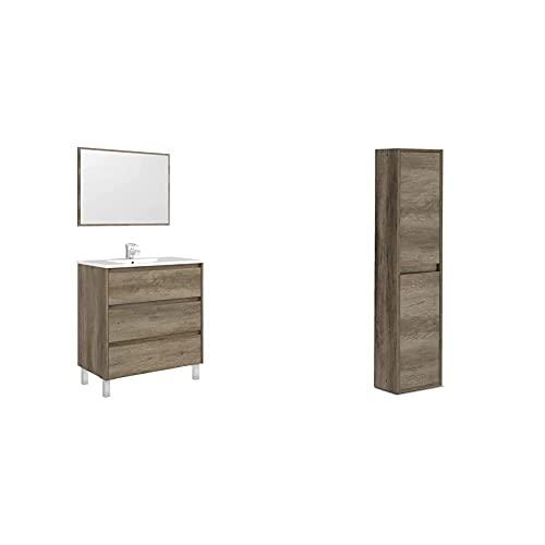 Arkitmobel Mueble De Baño con 3 Cajones Y Espejo, Modulo Lavabo, Modelo Dakota + Columna De Baño Suspendido 2 Puertas, Mueble Lavabo, Modelo Dakota