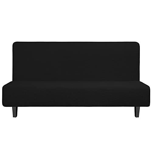 Easy-Going Funda elástica para sofá sin brazos para sofá sin reposabrazos Funda suave con parte inferior elástica para niños, tela jacquard de licra pequeña cuadros (futón, negro)