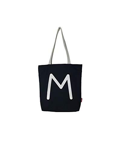 Hello-Bags N-003-M Bolso Tote Algodón 100% Negro. con Cremallera, Forro y Bolsillo Interior 37 * 38 cm + (asa: 28 cm) Incluye sobre Kraft de Regalo