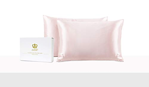 Luxor Crown Set of 2 Mulberry Silk Standard Pillowcases (White)