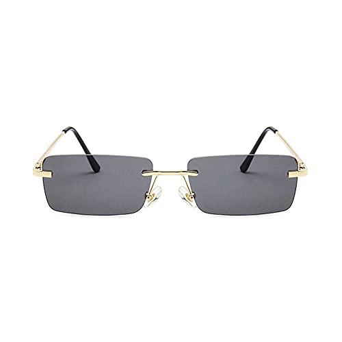 HAIGAFEW Gafas De Sol Rectangulares Pequeñas para Mujer Tonos Grises Y Rosas para Mujer Gafas De Sol Cuadradas Sin Montura Unisex Uv400 Proteger Los Ojos-Dorado Negro