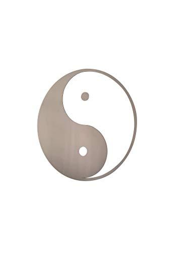 Recreatio | Yin Yang Edelstahl | Wanddeko | Wand-Schmuck | Spirituelles Symbol | Asiatische Deko (36 x 36 cm (Version mit Punkt))