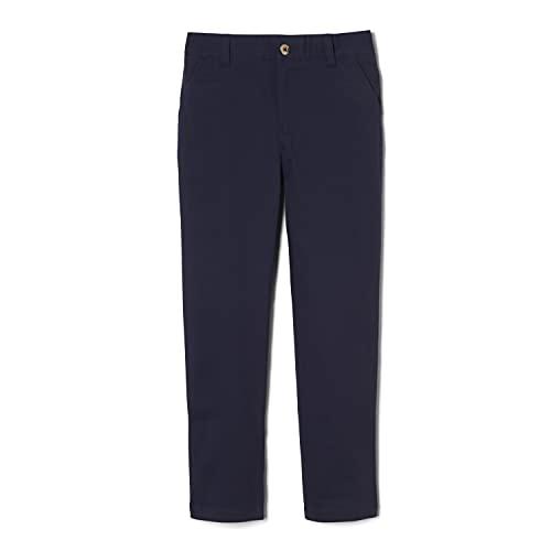 French Toast Boys' Adjustable Waist Stretch Straight Fit Chino Pant (Standard & Husky), School Uniform Navy, 8