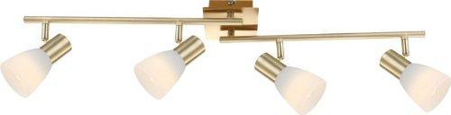 LED Deckenstrahler 4 flammig Messing Decken Spot Deckenlampe bewegliche Spots Strahler Flur Lampe (Deckenleuchte, Deckenlicht, Schlafzimmer, Wohnzimmer Leuchte, 80 cm, 4 x 4 Watt, warmweiß, EEK A+)