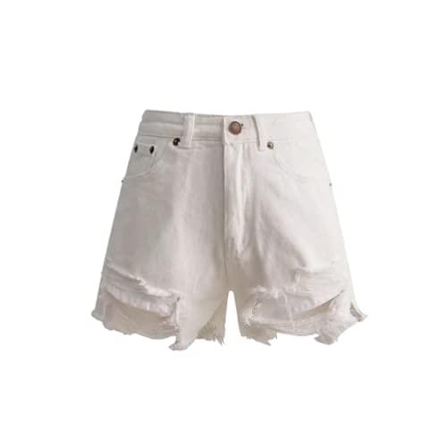 Qinvern Pantalones Cortos de Mujer Moda Streetwear Lavado Desgastado Dobladillo Deshilachado Agujero Rasgado...