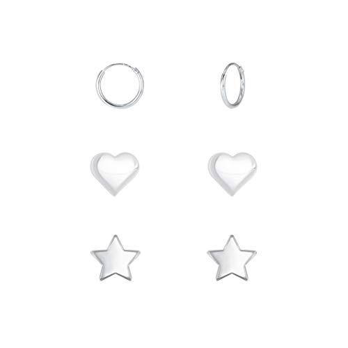 Juego de pendientes de aro de plata de ley con diseño de estrella de corazón y mini, 4 mm/5 mm/10 mm