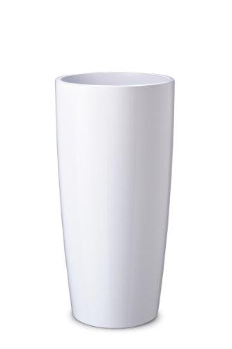 Floralo Teramo hoch Übertopf 35cm Durchmesser x 70cm hoch weiß, hochglänzend, mit herausnehmbarem Topfeinsatz,