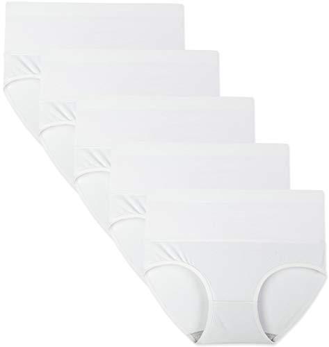 INNERSY Slip Damen Bauch Weg Unterwäsche Baumwolle Hipster Sommer Weiß Unterhosen 5 Pack (L, Milchiges Weiß)