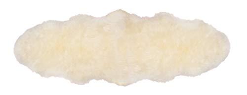 Yukon International großer Schafffell Teppich, 180cm x 55cm ca., elfenbein, echte Schafwolle, ökologischer Herstellung, Bettvorleger, Wohnaccessoire