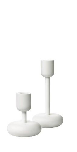 Iittala Nappula Bougeoir Lot, 8,3 cm et 18,4 cm, Blanc