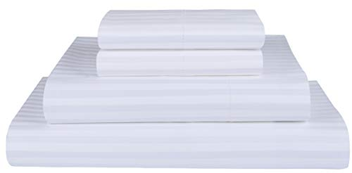 Threadmill Home Linen 600 Thread Count Twin Sheets Sets - 1CM Damask Stripe 100% Extra Long Staple Cotton Sheets for Twin Size Bed, Luxury 3 Piece Bedding Set with Deep Pocket Fitted Sheet, White