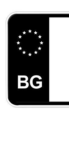 Ritter Media Design 2X stuks nummerplaat kenteken sticker Bulgaarse EU-veld in zwart plakken