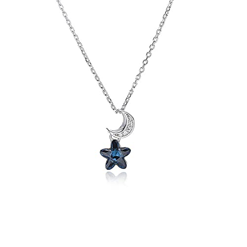 YDJGY Necklace Moon Stars Sterling Silver Crystal Pendant Jewelry,Handmade Dainty Personalized Choker Necklace Gift for Women,Mothers Day Jewelry Birthday Gift
