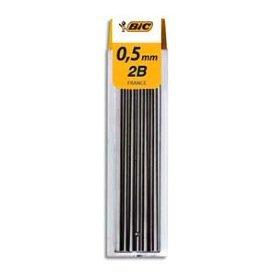 Bic - Minas de 0,5 mm, 12 unidades de alta polímero, 0,5 mm, 2B CONTE 7505-827067