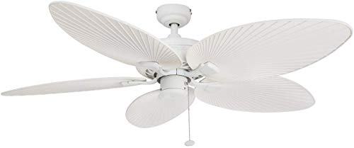 """Honeywell Ceiling Fans 50200 Palm Island Tropical Indoor/Outdoor Ceiling Fan, 52"""", White"""