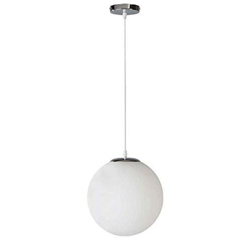 Lámpara Colgante de Techo de Globo de Vidrio Esmerilado Blanco Simple y Moderno DIY Loft Suspensión Pantalla de lámpara Colgante (30 cm)