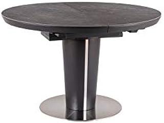 LUENRA Orbit Table de salle à manger rectangulaire (extensible) Bois et Céramique (effet marbre) 120 (160) x 76 cm Pieds e...