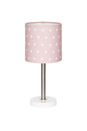 Nachttischlampe Kinderzimmer Tischleuchte mit Punkten in rosa Weiss, 15 x 15 x 35 cm, E27, 60 Watt, 230Volt