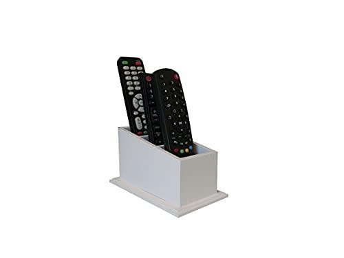 Porta Controle Remotos Com 3 Divisórias Branco Em Mdf