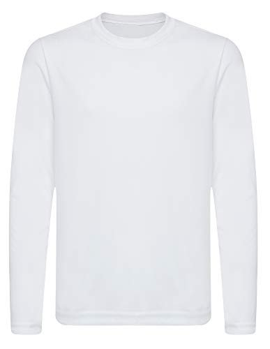 OPNA Youth Athletic Performance Long Sleeve Shirts for Boy's or Girl's – Moisture Wicking,White L