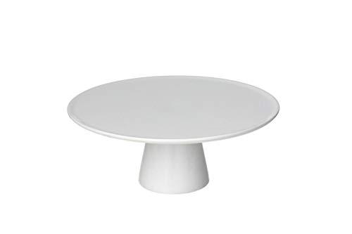 TOGNANA Plat à tarte en porcelaine, collection Gourmet, blanc sobre, rond, avec pied, diamètre 27 cm