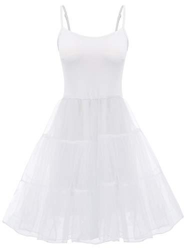 GRACE KARIN Women's 1950s Vintage Petticoat Crinoline Tutu Underskirts Full Slip Under Dress (White,S)