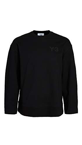 adidas Y-3 Men's Y-3 Logo Crew Neck Sweatshirt, Black, Medium