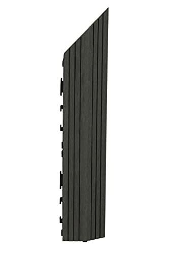 Decko - Azulejos de madera compuesta de plástico negro con borde derecho (37 x 7 cm)